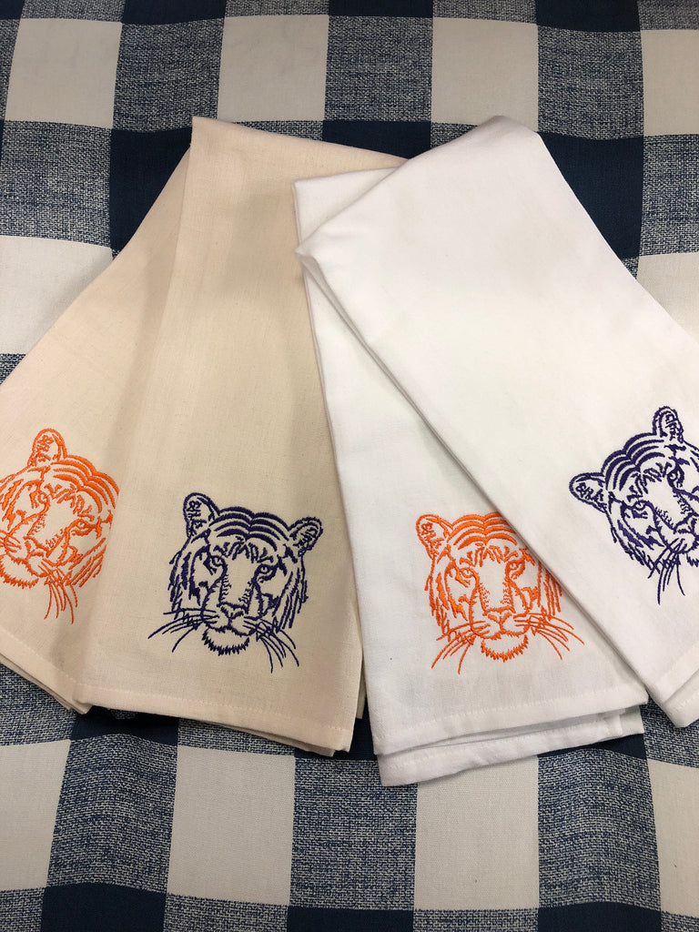 Tiger Head Towels (white or cream)