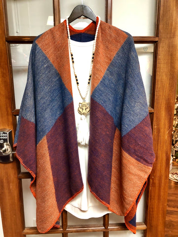 Color Block Poncho (3 colors)