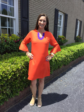 Portia Dress in Solid Orange with Purple Trim