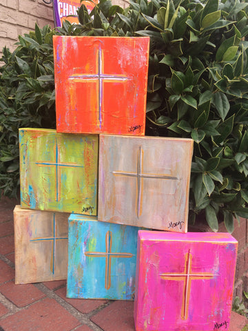 Hand Painted Cross Canvas 6 x 6