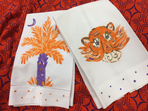 Hand Painted Tea Towel (Palm Tree or Tiger)