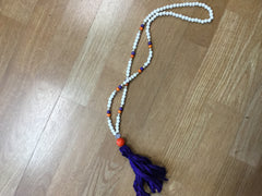 Wooden Beaded Necklace Sari Silk Tassel