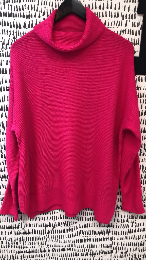 Hot Pink Mock Neck Sweater