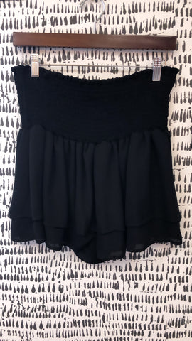 Black High Waist Smocked Ruffle Shorts