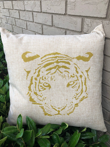 Tiger Head Gold Shimmer Pillow