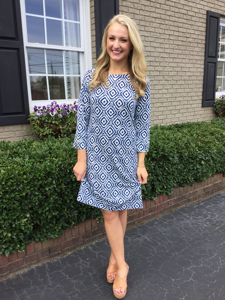 Brennan Dress Aegean Blue/White