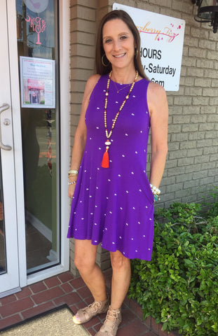 Sleeveless Tiger Dress in Purple