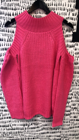 Hot Pink Cold Shoulder Knit Sweater