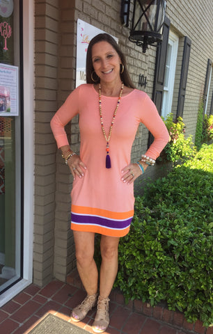 Long Sleeve Orange Dress with Purple Stripe