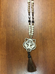 Wooden Beaded Necklace with Tiger head