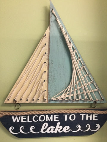 Wood Nail/Rope Sailboat
