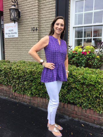 Sasha Top in Purple/White Botswana