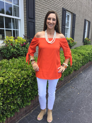 Laurel Top in Solid Orange