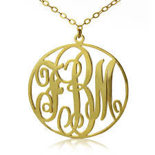 Circle Script Monogram Necklace (1 inch) (silver or gold plated)