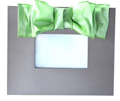 Silver Frame with Lime Metallic Bow