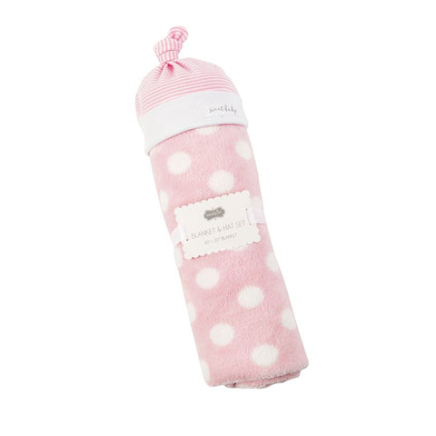 Pink Baby Hat and Blanket Set