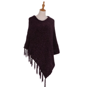 Fringed Velour Knitted Poncho