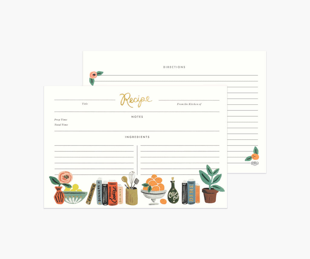 Pack of 12 Kitchen Shelf Recipe Cards