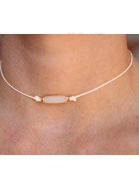 Simple Lux Twine Choker with Crystal Center-Ivory