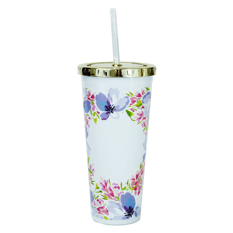 Floral Tumbler with Straw (two patterns)