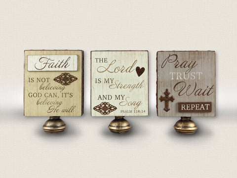 Wood Faith Table Sign (assorted)