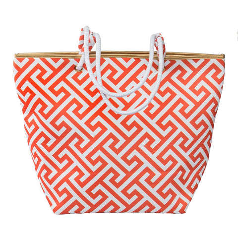 Orange Greek Key Tote