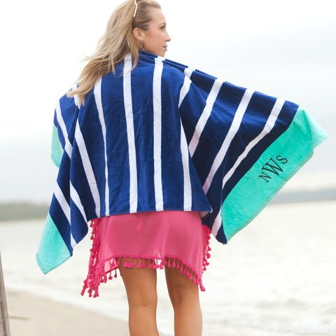 Beach Towel Navy Stripe
