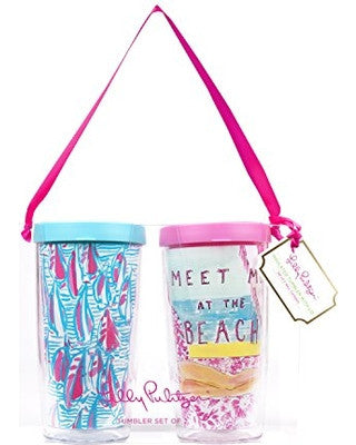 Insulated Tumbler with Lid Set Red Right Return/ Meet Me at the Beach