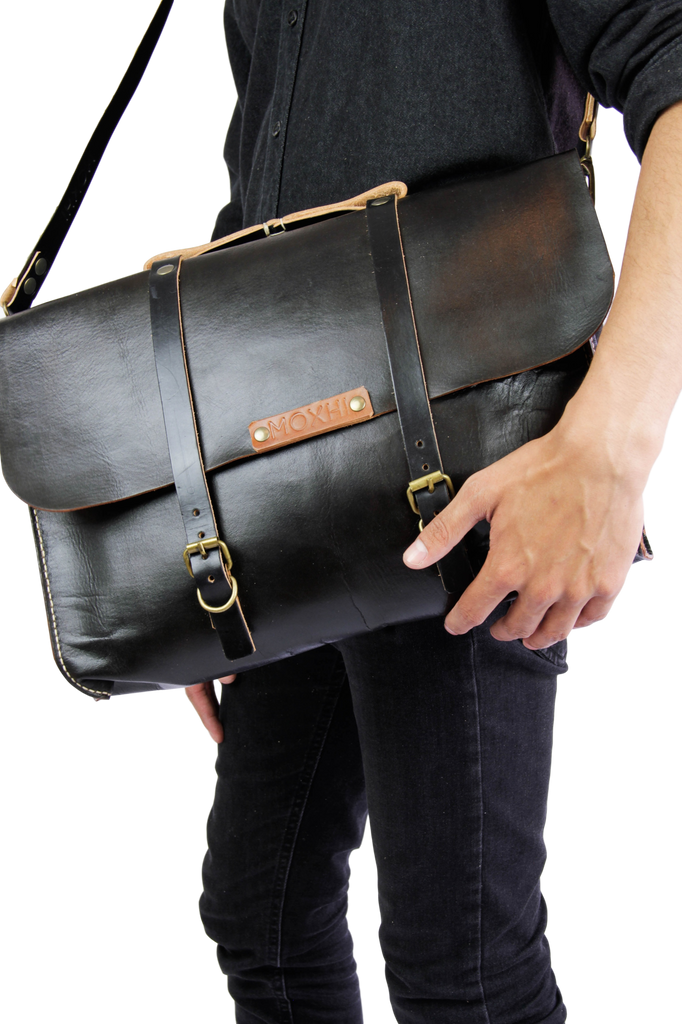Handmade black leather briefcase men