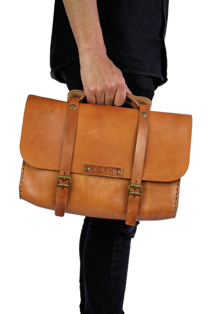 Handmade leather satchel briefcase