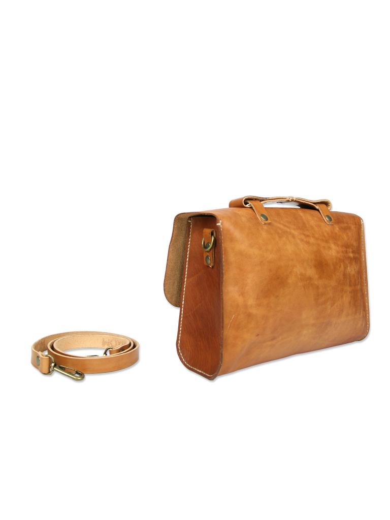 Handcrafted leather briefcase classic brown