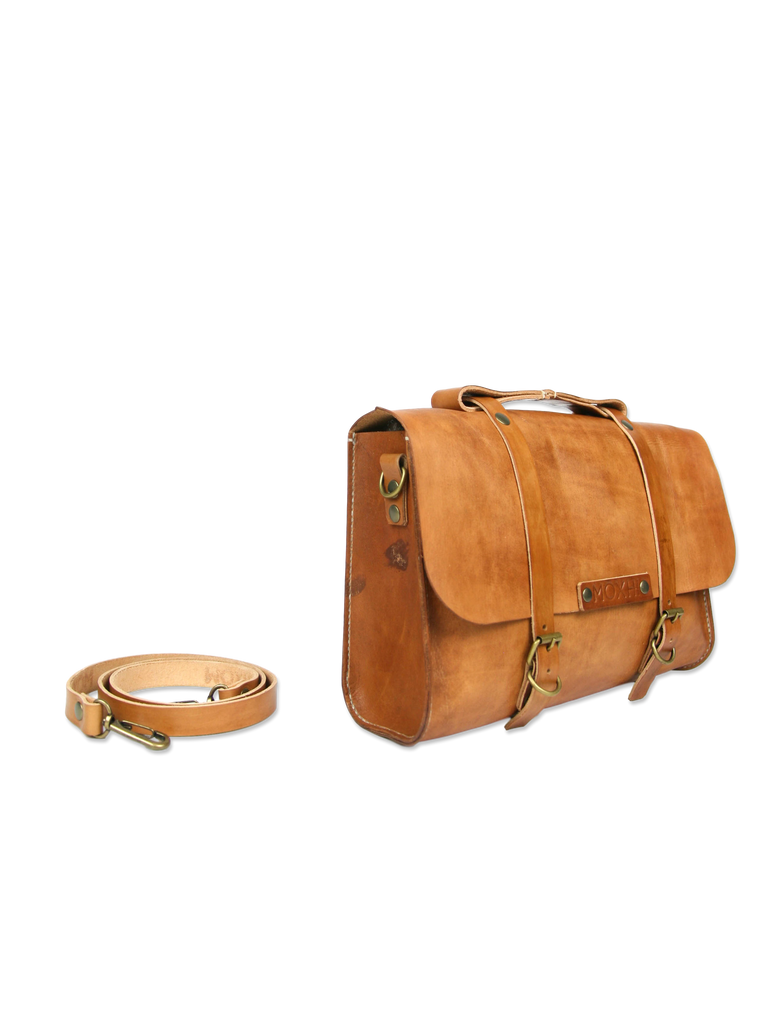 Handmade leather briefcase classic brown