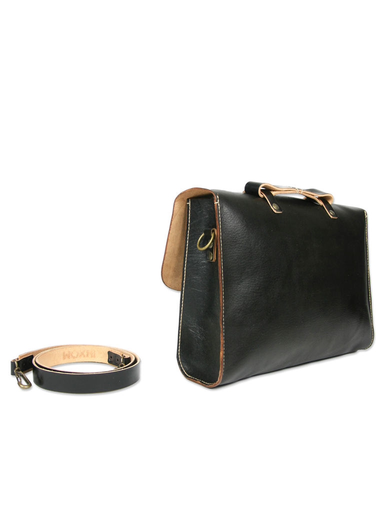 Handcrafted messenger briefcase black