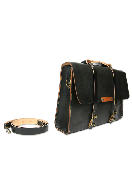 Handmade messenger briefcase black