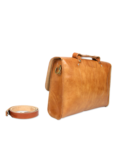 Handcrafted messenger briefcase brown