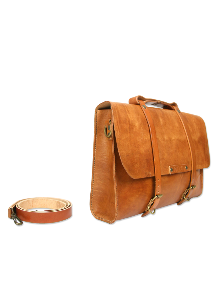 Handmade messenger briefcase brown