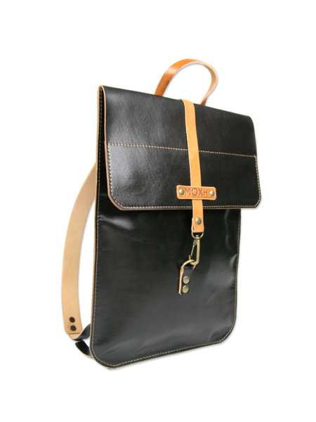 Black Leather Laptop Backpack