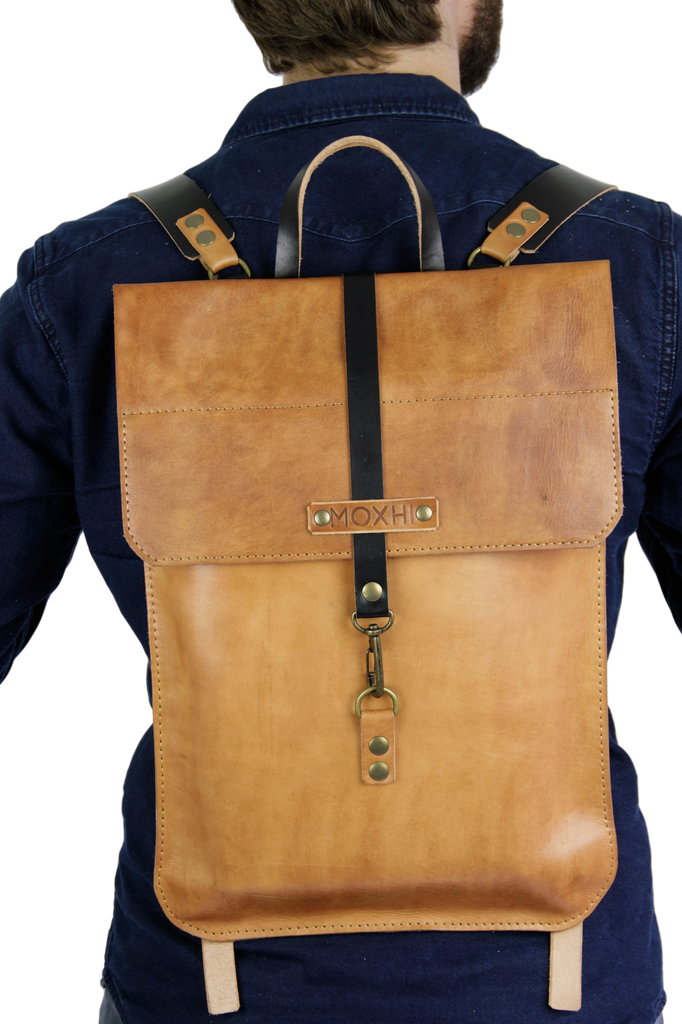 Handcrafted leather laptop bag backpack