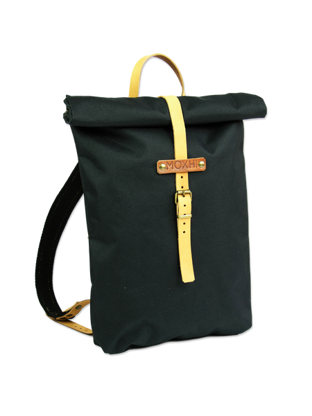 Black rolltop backpack handcrafted