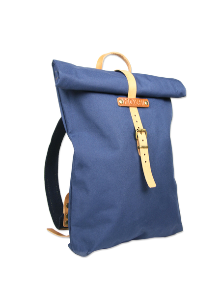 Blue rolltop backpack handmade