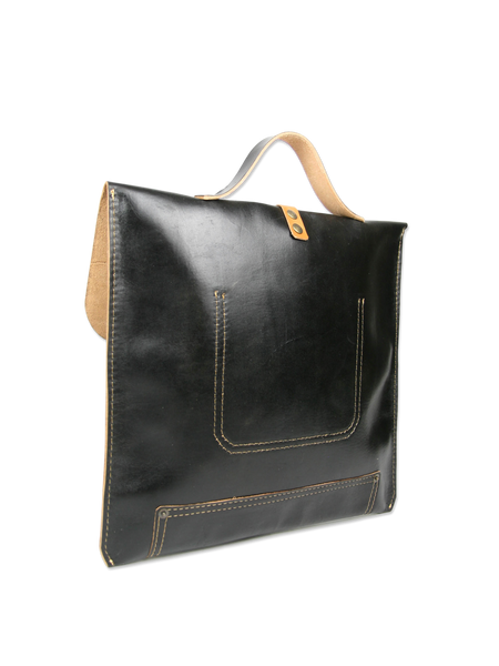 Black handcrafted leather briefcase