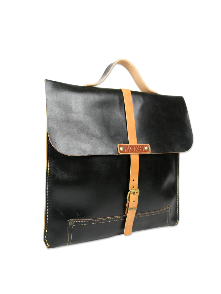 Black handmade leather briefcase