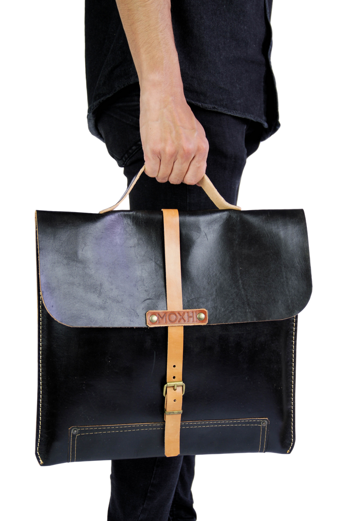 Black leather sustainable briefcase men