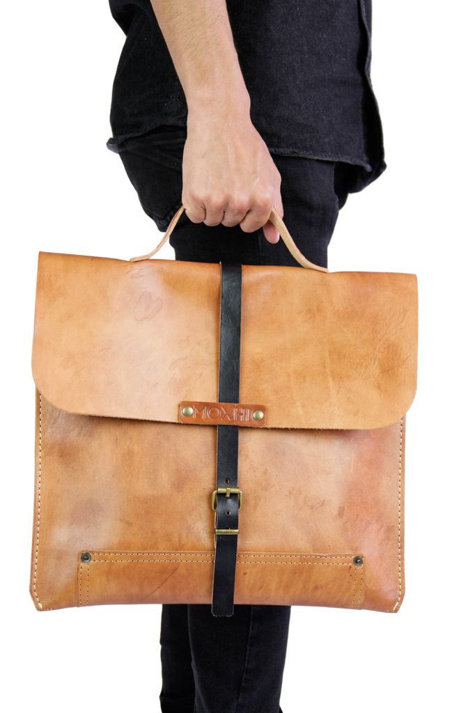 Handmade ecological leather briefcase bag