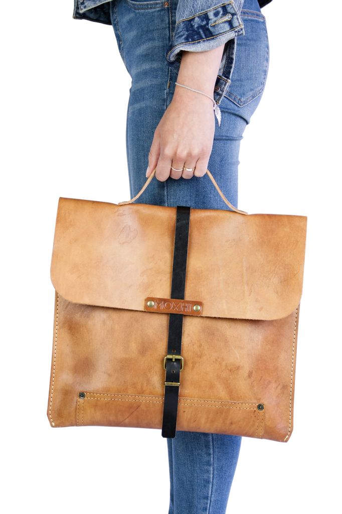 Artisan organic leather briefcase