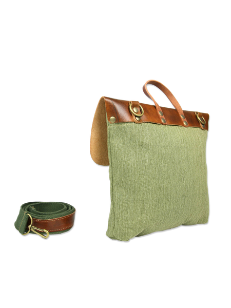 Handcrafted messenger bag green