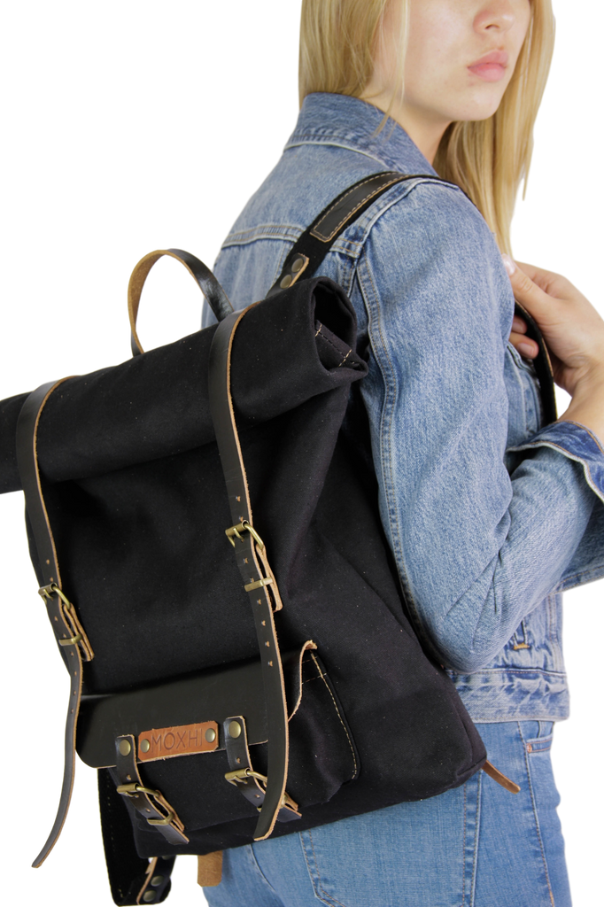 Black artisan rolltop backpack women