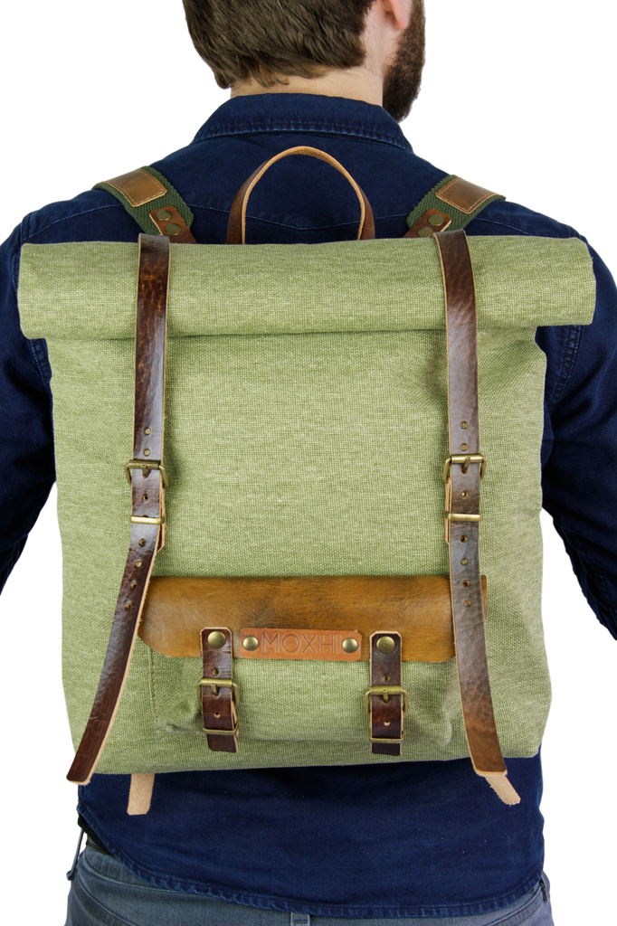Fair trade cotton rolltop backpack men