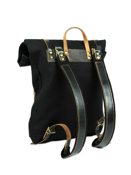 Black rolltop backpack - handmade