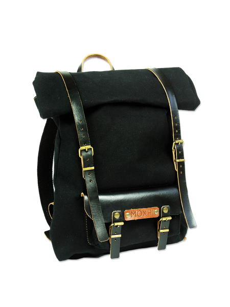 Black rolltop backpack - handcrafted